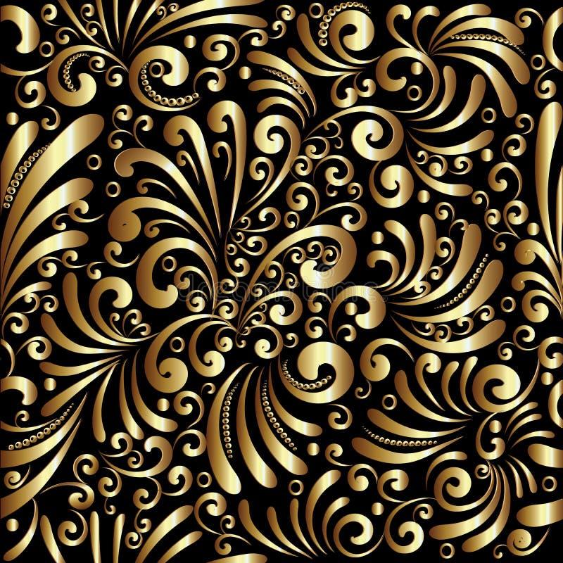 花卉金3d无缝的样式 与乱画的传染媒介背景 皇族释放例证