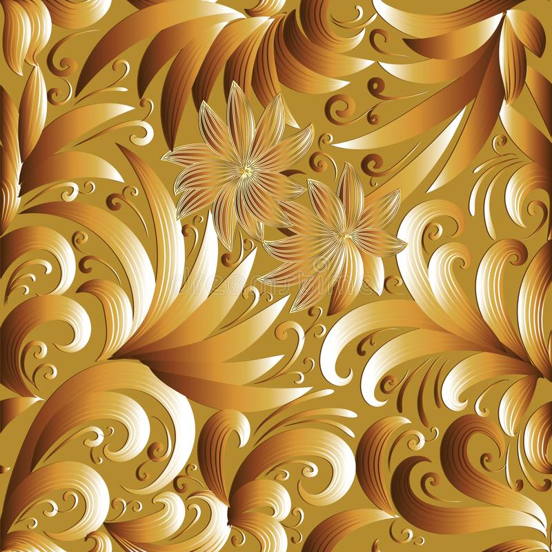 花卉金3d无缝的样式 与乱画s的传染媒介背景 库存例证