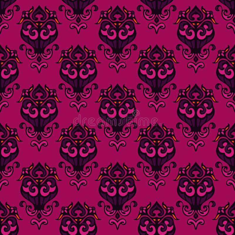 花卉锦缎无缝的装饰背景 向量例证