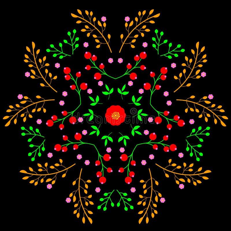 花卉镜子样式装饰设计在黑背景的 库存例证