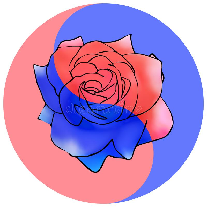 花卉阴山杨标志 罗斯,玫瑰色花 皇族释放例证