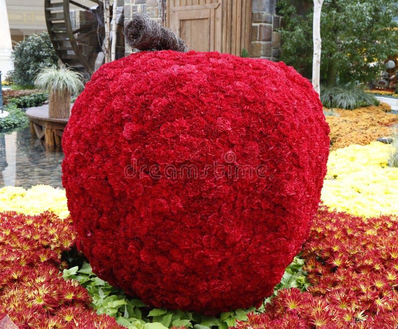 花卉雕塑在贝拉焦旅馆和赌博娱乐场音乐学院里  库存照片