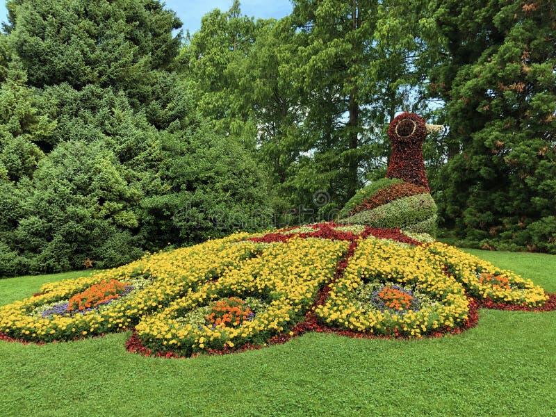 花卉雕塑或Blumenfiguren花海岛Mainau博登湖或模子的Blumeninsel im Bodensee 库存照片