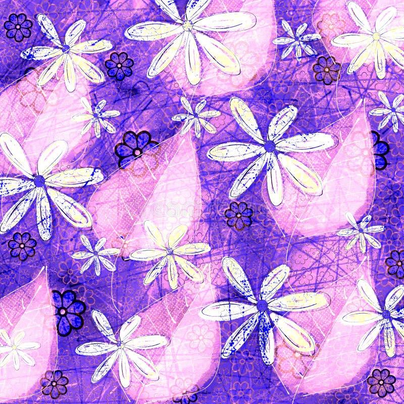花卉霓虹难看的东西和叶子样式图形设计 免版税库存图片