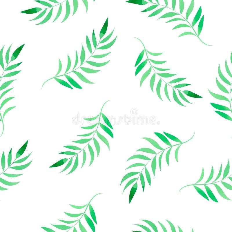 花卉颜色水彩无缝的样式水彩热带叶子 向量例证