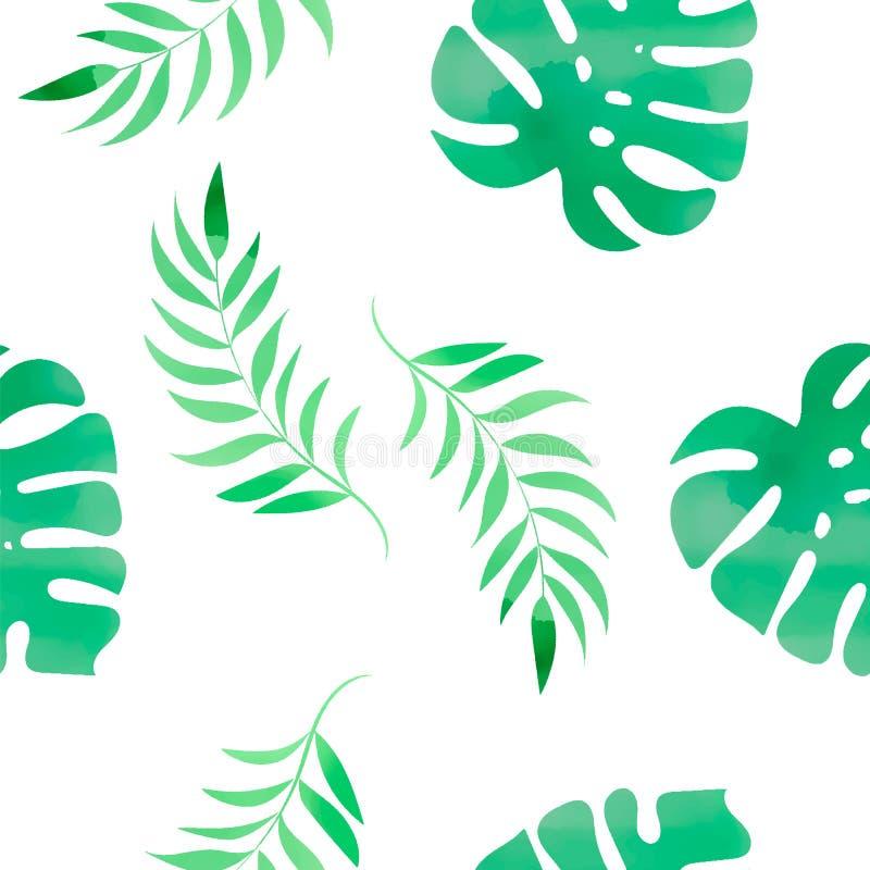 花卉颜色水彩无缝的样式热带MONSTERA 库存例证
