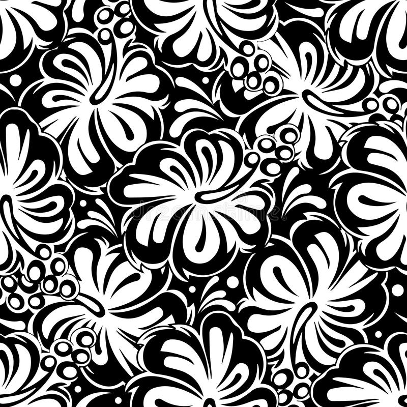 花卉黑白无缝的样式 传染媒介开花backgrou 皇族释放例证
