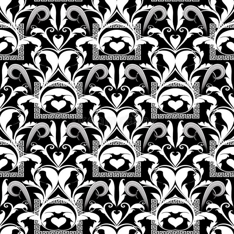 花卉黑白无缝的样式 传染媒介抽象backgro 皇族释放例证