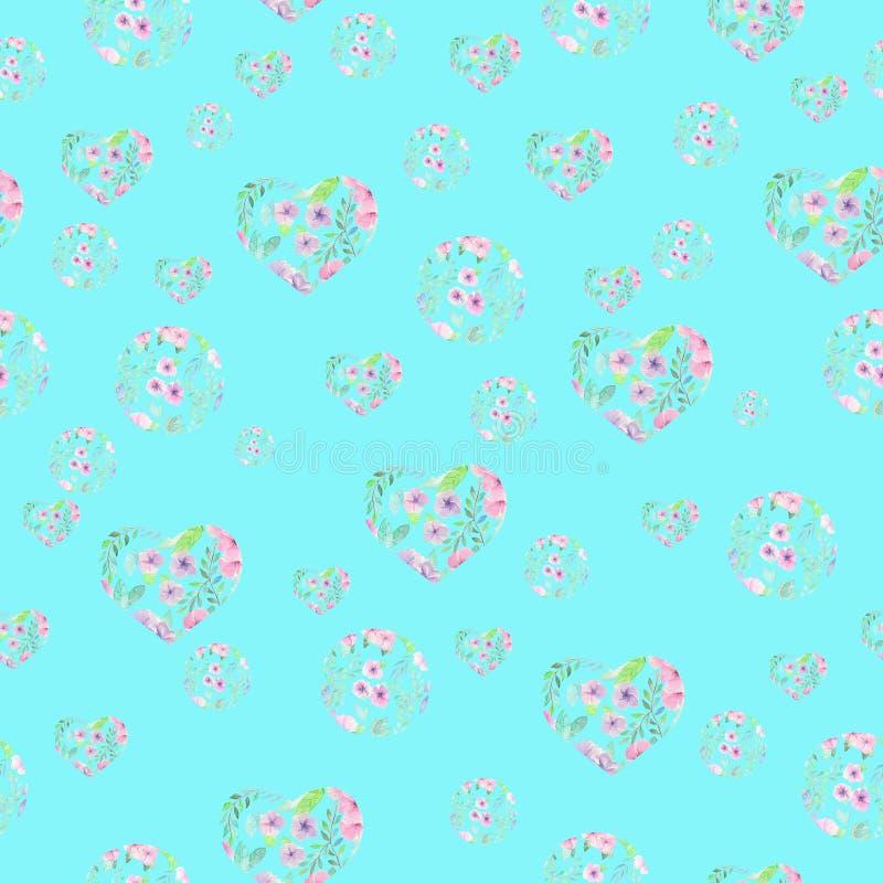 花卉水彩心脏和圈子的无缝的样式 皇族释放例证