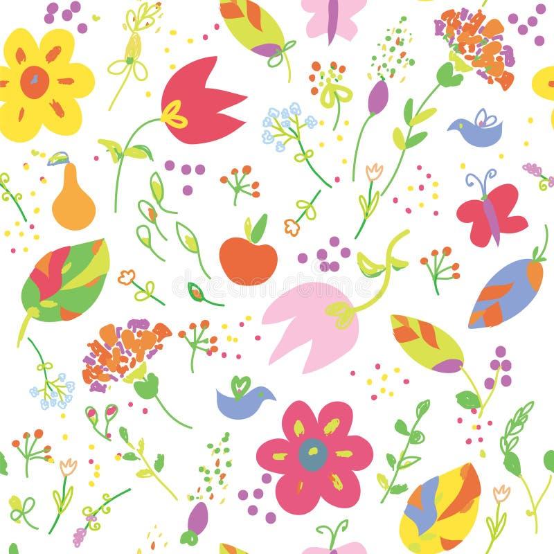 花卉绘画无缝的墙纸用滑稽的果子 向量例证