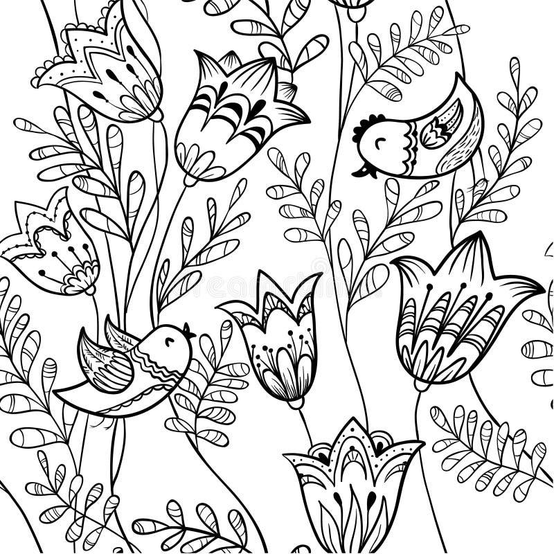 花卉黑白 向量例证