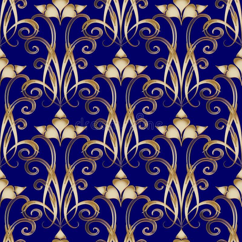 花卉3d锦缎无缝的样式 传染媒介葡萄酒蓝色backgroun 向量例证