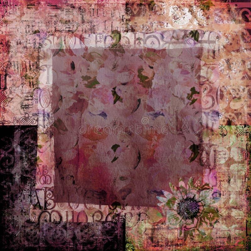 花卉grunge纸张葡萄酒 免版税图库摄影