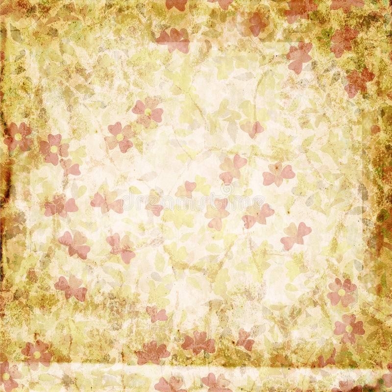 花卉grunge纸张 皇族释放例证