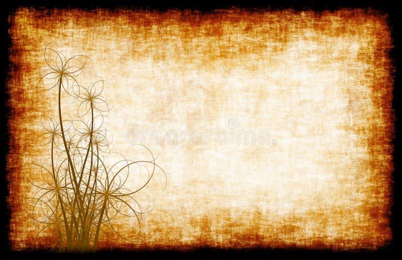 花卉grunge羊皮纸 皇族释放例证