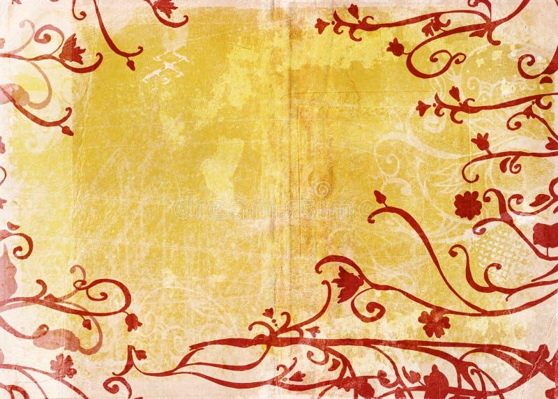 花卉grunge页黄色 向量例证