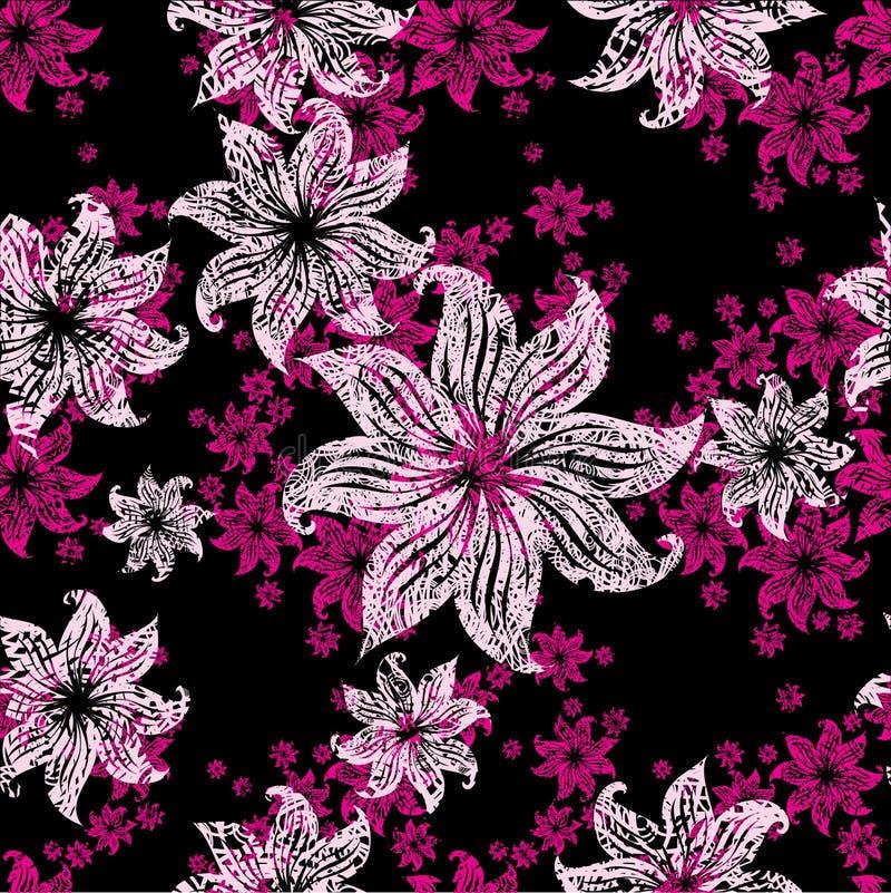 花卉lilly grunge模式无缝的葡萄酒 库存例证