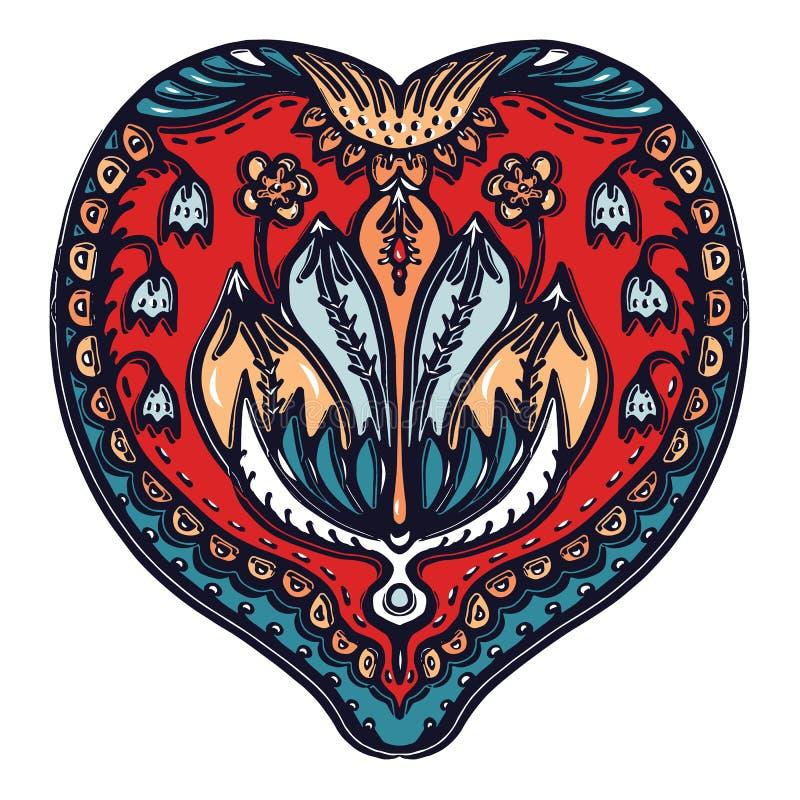 花叶佩兹利东欧样式 手拉的lino裁减印版印刷品 华丽蔓藤花纹花下落 斯拉夫的薄软绸子 皇族释放例证