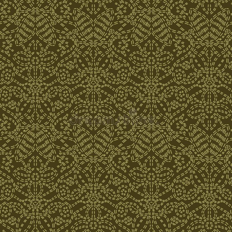 花叶佩兹利主题连续针样式 维多利亚女王时代的针线无缝的传染媒介样式 手针boteh薄软绸子 向量例证