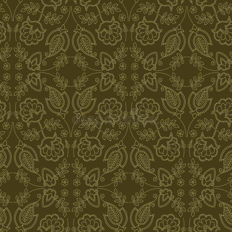 花叶佩兹利主题连续针样式 维多利亚女王时代的针线无缝的传染媒介样式 手缝了boteh薄软绸子纺织品 皇族释放例证