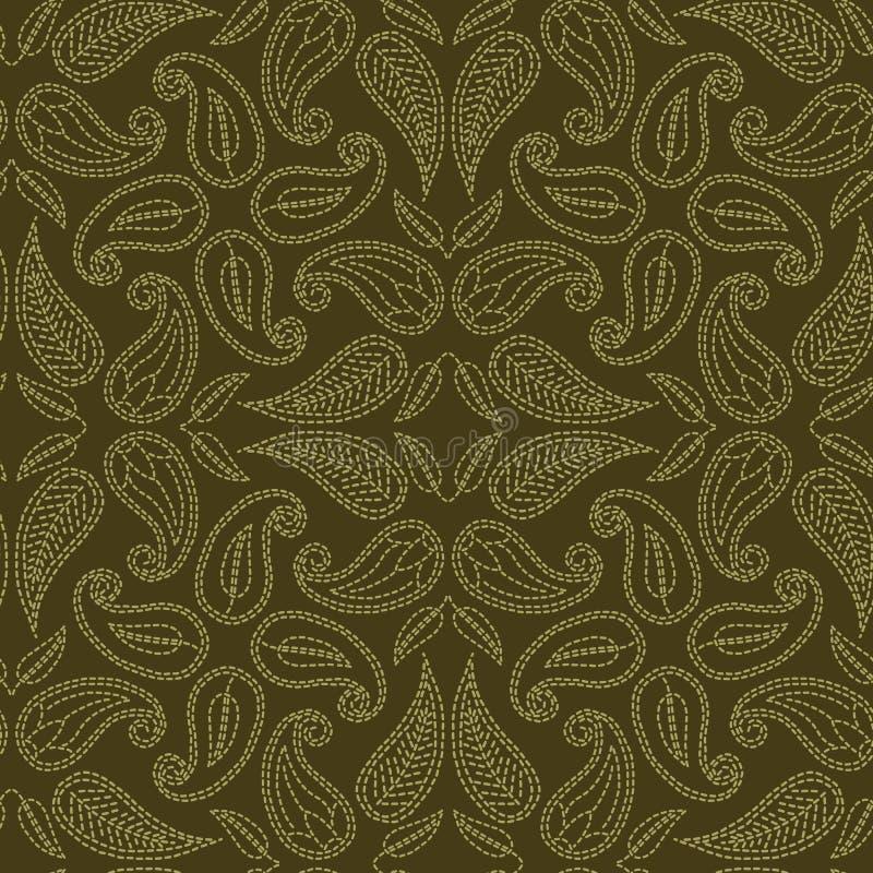花叶佩兹利主题连续针样式 维多利亚女王时代的针线无缝的传染媒介样式 手缝了boteh薄软绸子纺织品 向量例证