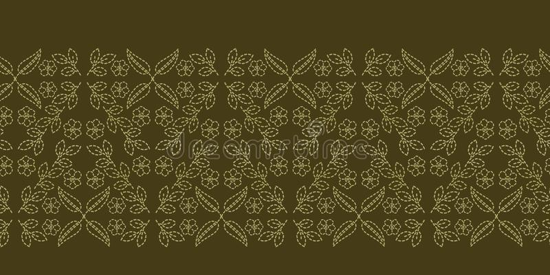 花叶佩兹利主题连续针边界 维多利亚女王时代的针线无缝的传染媒介样式 手缝了boteh 库存例证