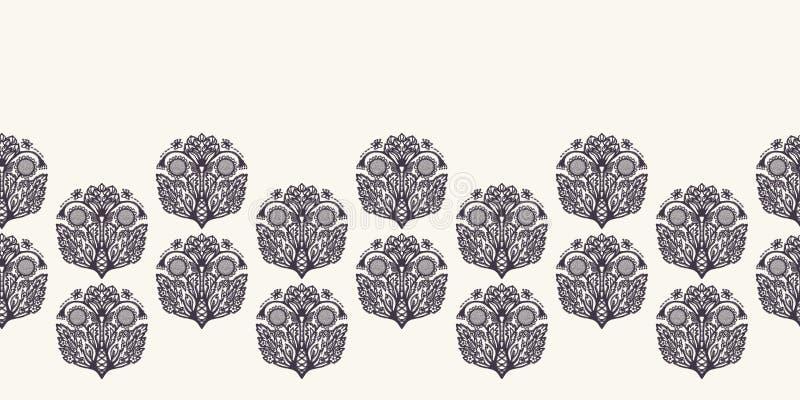 花叶佩兹利波斯样式边界 蔓藤花纹boteh薄软绸子纺织品丝带修剪 经典锦缎家装饰横幅 向量例证