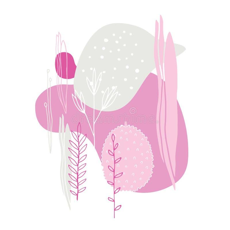 花叶子圆点美好的抽象背景简单的剪影和线  皇族释放例证