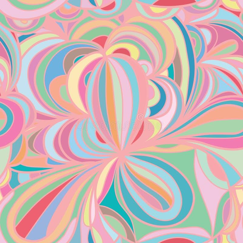 花叶子圈子淡色无缝的样式 库存例证