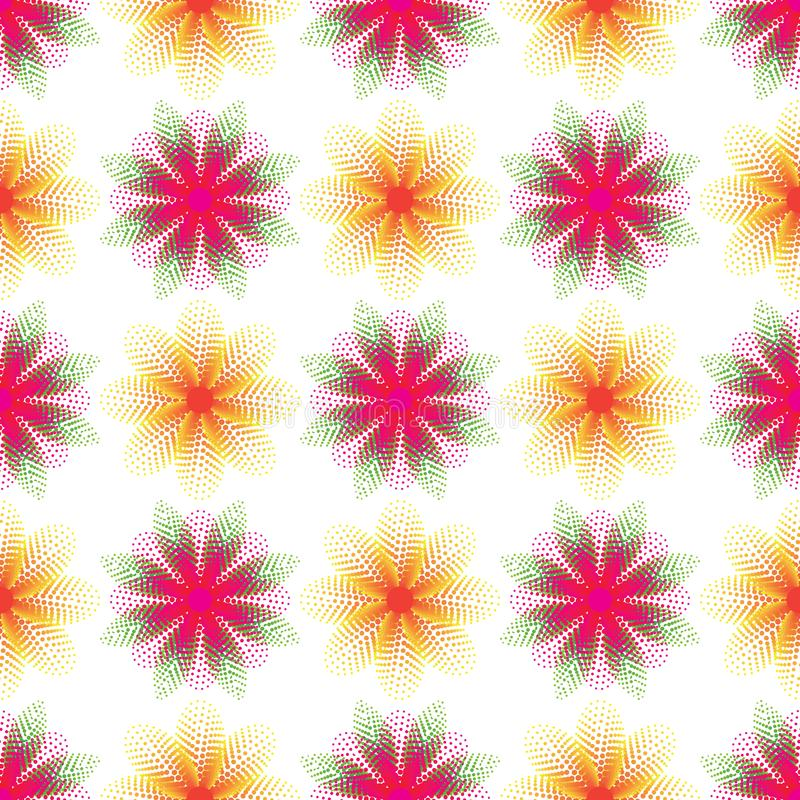 花叶子小点半音对称黄色桃红色无缝的样式 向量例证