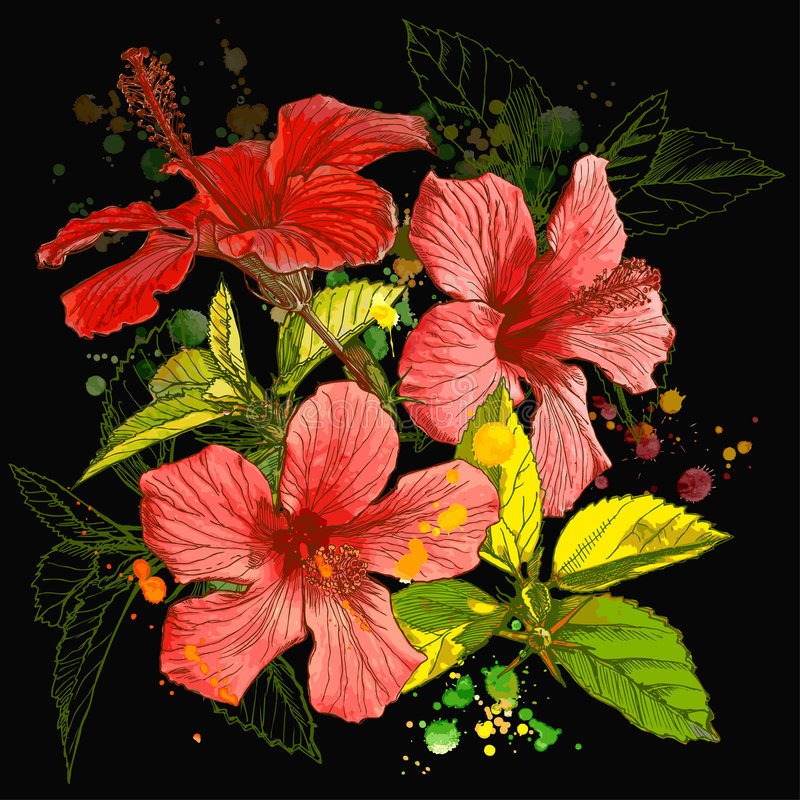 花向量水彩 向量例证