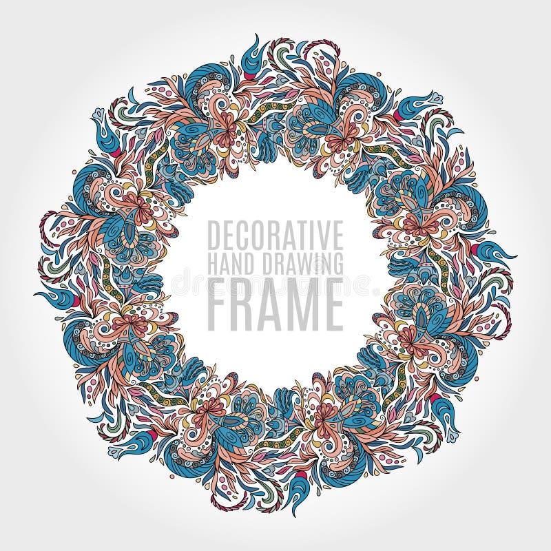 花和一些花卉元素圆的框架  好的软的颜色 手凹道例证 2007个看板卡招呼的新年好 皇族释放例证