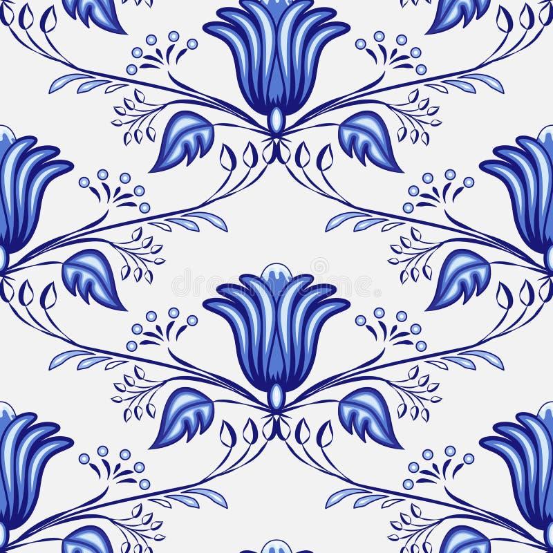 从花和分支的无缝的蓝色样式 俄国或国画的仿效在瓷的 库存例证