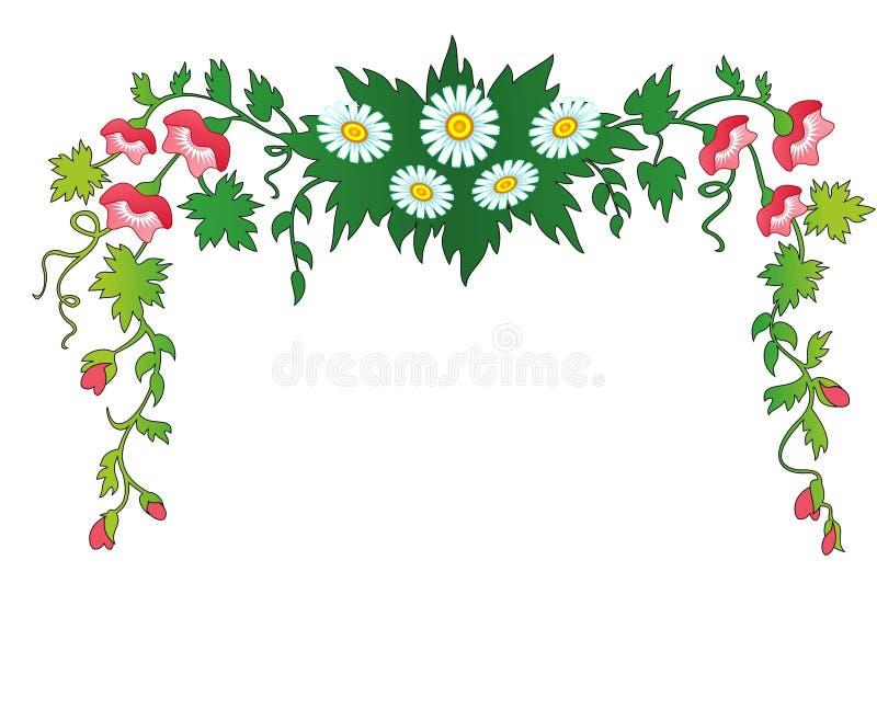 花和叶子。框架。 免版税库存图片