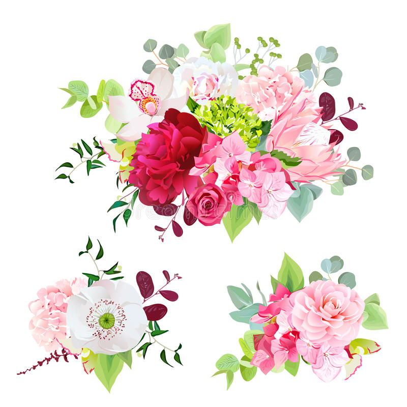 花和叶子夏天混杂的花束  向量例证