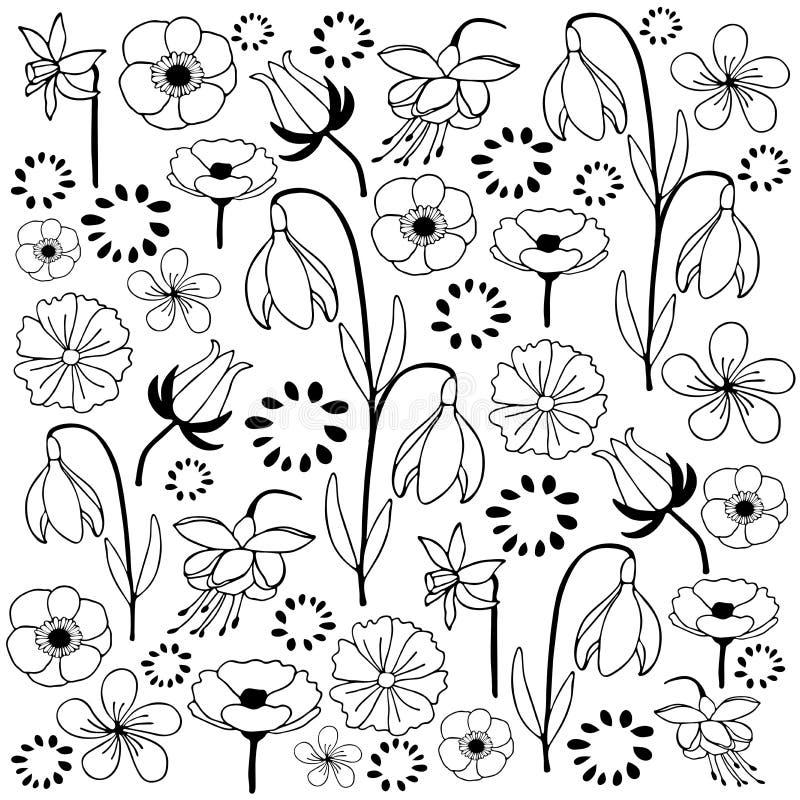 花和叶子手拉的剪影乱画 库存例证