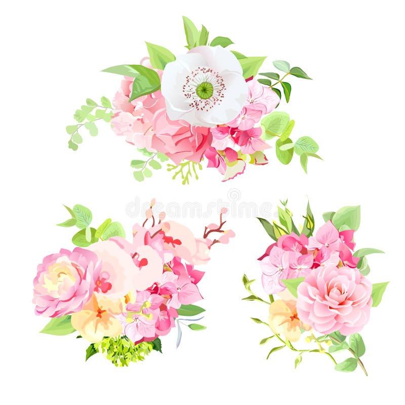 花和叶子明亮的夏天花束  皇族释放例证
