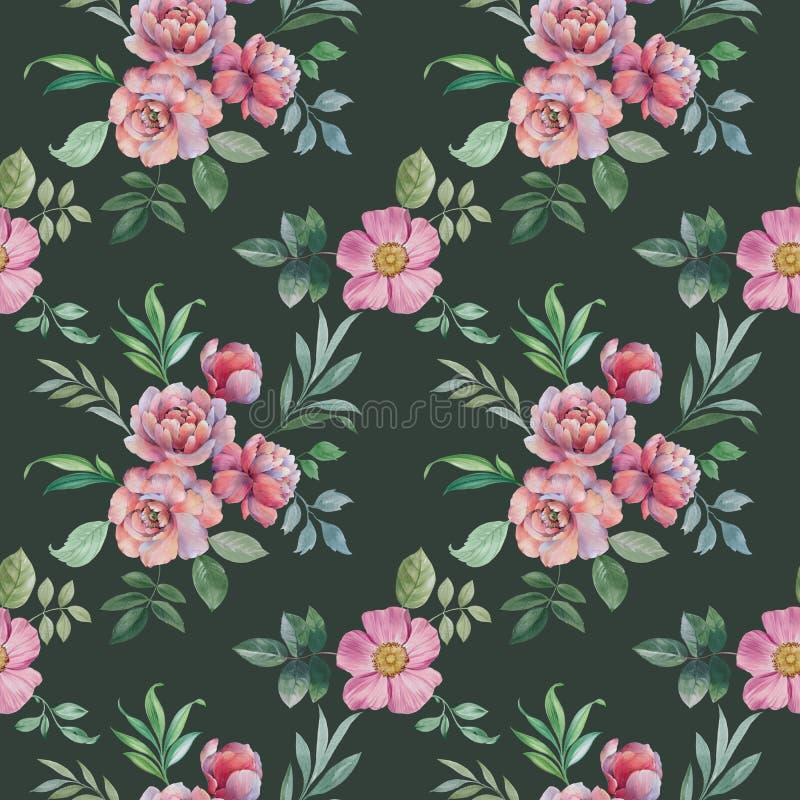 花和叶子的无缝的水彩样式 设计的插花 库存例证