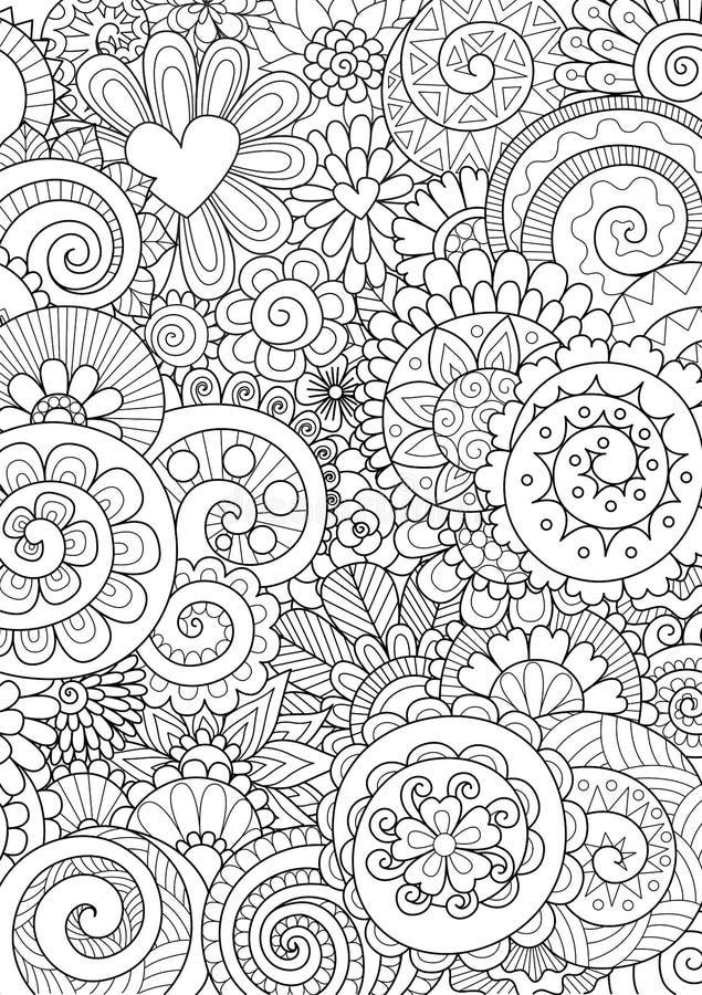 花和叶子背景、上色页和印刷品的在产品 也corel凹道例证向量 库存例证