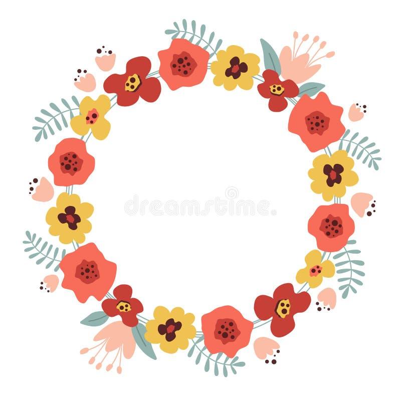 花和叶子装饰花圈  与红色和黄色花的花卉框架 皇族释放例证
