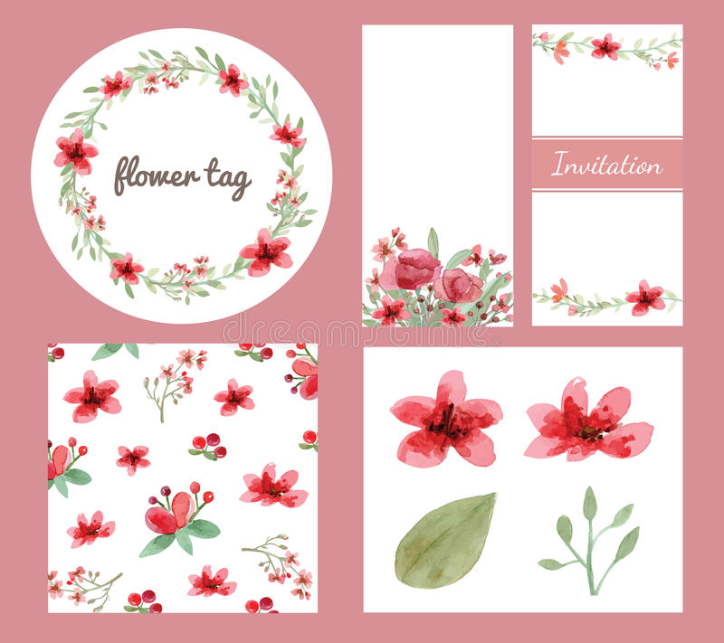 花和叶子设计集合 库存例证