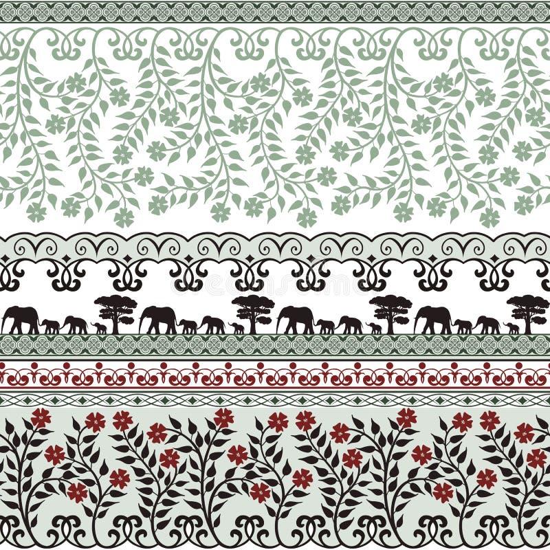 花和大象以绿色 向量例证