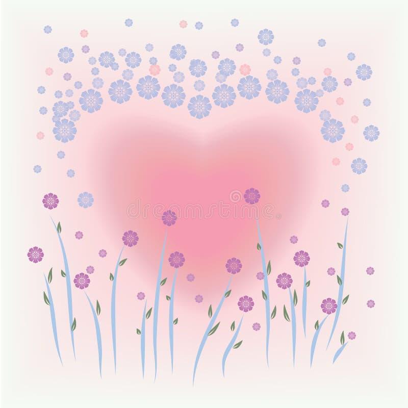 花和心脏形状背景 向量例证