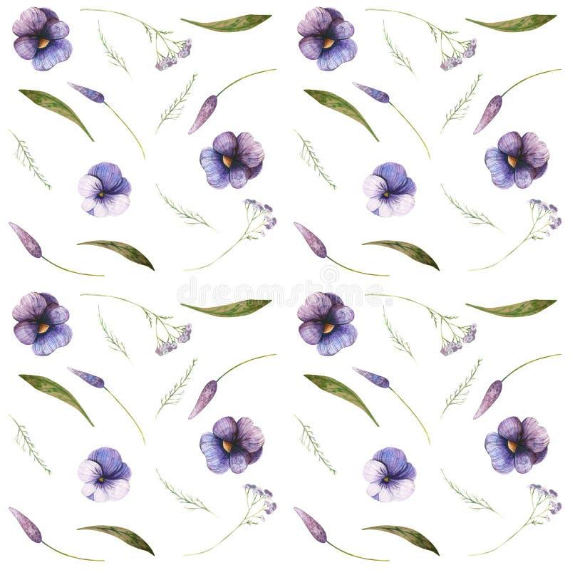 花和昆虫的水彩无缝的秋季样式 库存例证