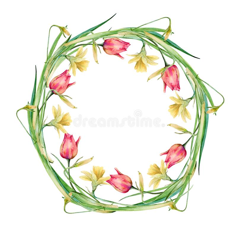 花和枝杈复活节花圈  背景查出的白色 向量例证