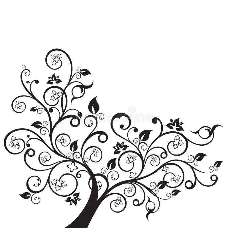 花和漩涡设计元素剪影 向量例证