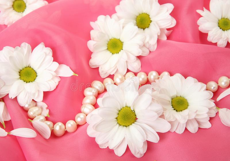 花和珍珠项链 库存图片