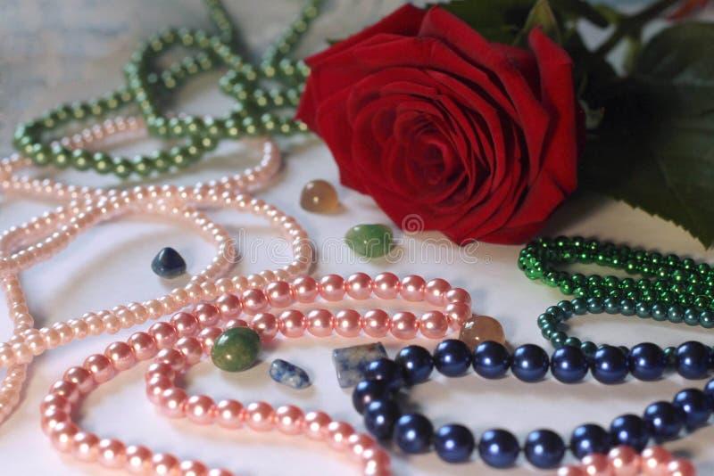 花和珍珠 库存图片