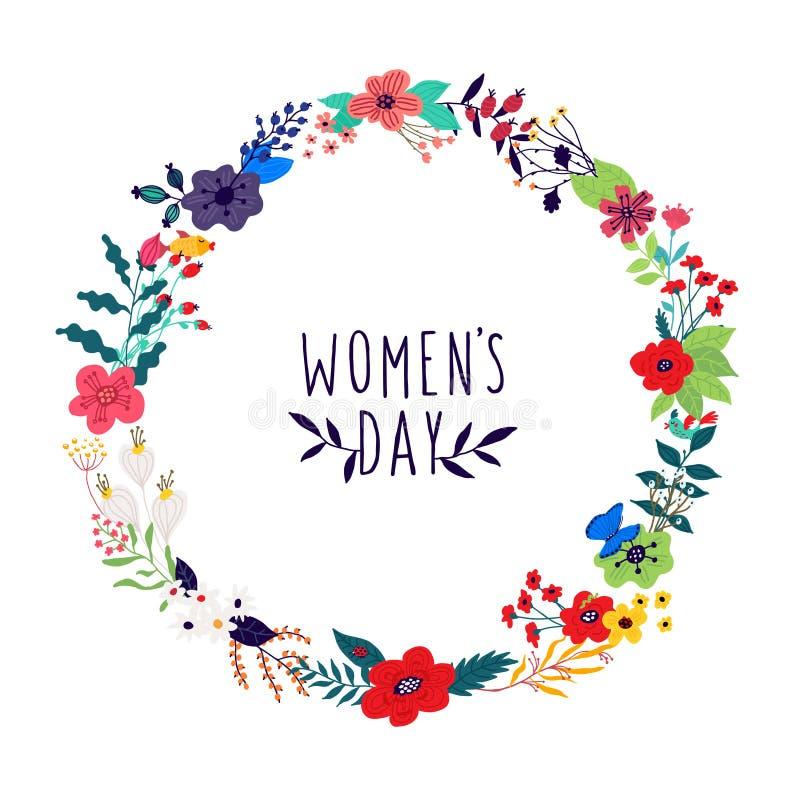 花和芽花圈的例证在白色背景 向量 横幅的,贺卡图片 妇女的3月8日, 库存例证