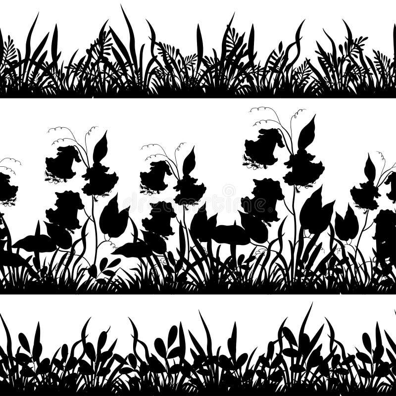 花和草剪影,设置了无缝 皇族释放例证